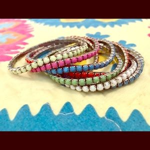 Jewelry - Set of 8 Multi-Colored Stretchy Metal Bracelets